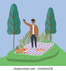 man taking selfie with mobile on blanket picnic vector illustration