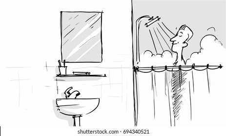 Man taking a shower in the bathroom Vector illustration