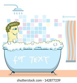 man taking a shower in a bathroom.Vector color illustration