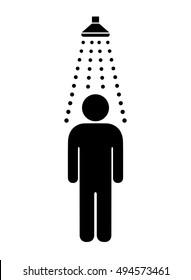 Man taking shower. Vector shower web icon.
