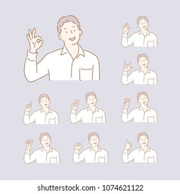 A man taking various hand gestures. hand drawn style vector doodle design illustrations.