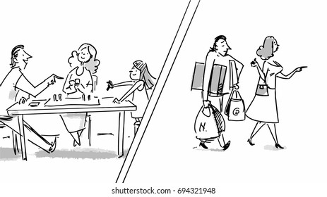Man talking to his daughter at family dinner. Husband and wife shopping. Vector for cartoon, or storyboard projects