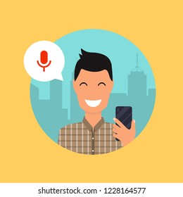 Man talking on the phone with the digital voice assistant. Flat design modern vector illustration concept.