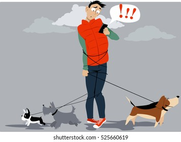 Man, tangled in multiple dog leashes, texting for help of a dog walker, EPS 8 vector illustration