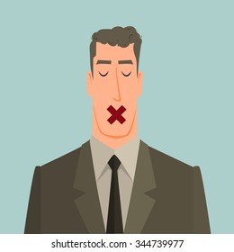 Man with tape over his mouth as a metaphor or symbol of some people who know the truth but could not tell or business secrets.