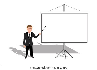 Man teacher or businessman presents a blank screen background.