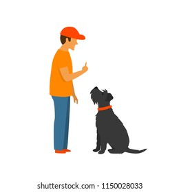man teaching a dog to stay and sit , basic commands obedience training vector illustration scene