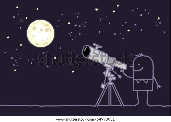 man with telescope & moon