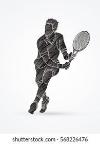 Man tennis player action designed using black grunge brush graphic vector.