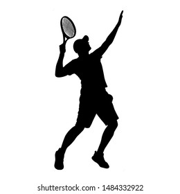 Man tennis player vector silhouette isolated on white background.