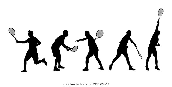 Man tennis players vector silhouette isolated on white background.  Big set of sport tennis silhouette isolated. Editable different recreation silhouettes. Recreation after work, anti stress therapy.