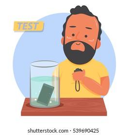 Man testing waterproof capability new smartphones : Vector ,Illustration