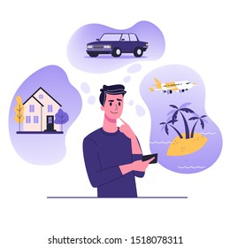 Man think about house, car and vaction on the sea. Male character dream about wealth. Flat vector illustration