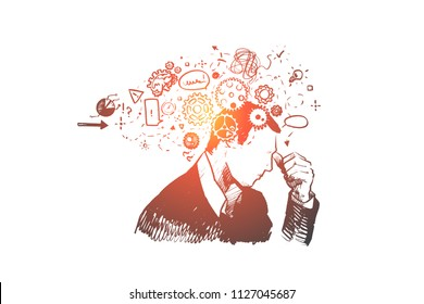 Man, think, idea, brainstorm , question concept. Hand drawn thoughtful man searching for right decision concept sketch. Isolated vector illustration.