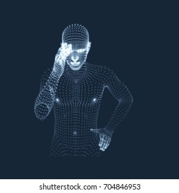 Man in a Thinker Pose. 3D Model of Man. Geometric Design. Business, Science, Psychology or Philosophy Vector Illustration.