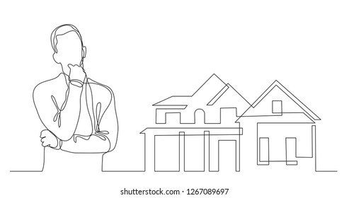 man thinking about buying his own home - continuous line drawing