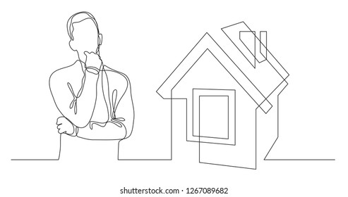 man thinking about buying house - continuous line drawing