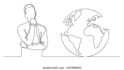 man thinking about global issues - continuous line drawing