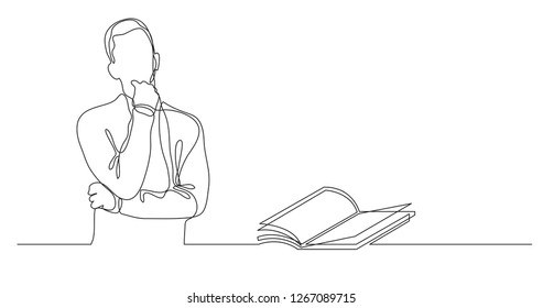 man thinking about interesting book - continuous line drawing