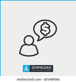 man thinking about money icon. simple outline man thinking about money vector icon. on white background.