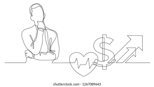 man thinking about skyrocketing health care cost - continuous line drawing
