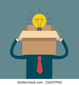 man thinking out of box light bulb vector