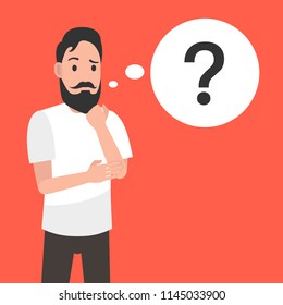Man is thinking. Question mark. Character design. Vector illustration.