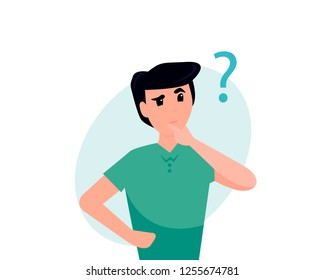 Man is thinking. Question mark. Vector flat cartoon illustration character. Business concept.