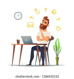 Man thinks about what to sell in his online store. A different niche, such as clothing, real estate, food or furniture