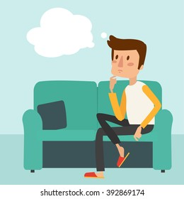 man thinks and sit on the sofa. vector illustration