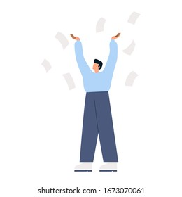 Man throwing away pieces of paper. Angry man standing with his hands up and paper flying around him. Businessman needs help with paperwork. Flat vector illustration.
