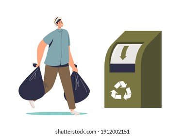 Man throwing bags of clothes in recycling container for eco friendly production. Recycle fabric and recycled fashion concept. Flat vector illustration