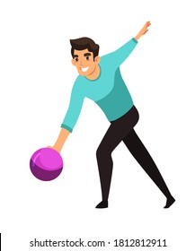 Man throwing ball playing bowling. Guy throws ball on white background. Recreation and hobby vector illustration. Night entertainment at club, fun leisure activity at party.