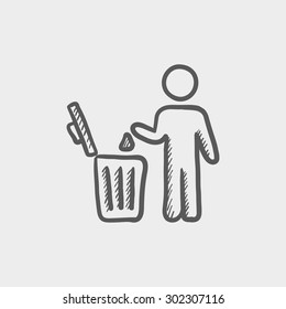 Man throwing garbage in a bin sketch icon for web and mobile. Hand drawn vector dark grey icon on light grey background.