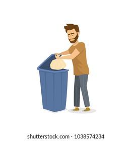 man throwing the garbage in a trash bin