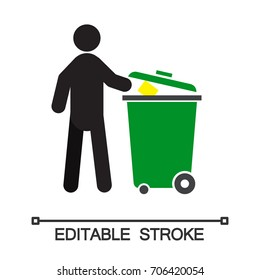 Man throwing out trash silhouette icon. Waste recycling. Isolated vector illustration. Pollution prevention. Editable stroke