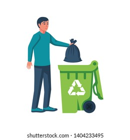 Man throwing trash bags in container. Vector illustration flat design. Isolated on white background. Trash can with recycle icon. Eco mark.