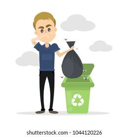 Man throwing trash in the bin on white.