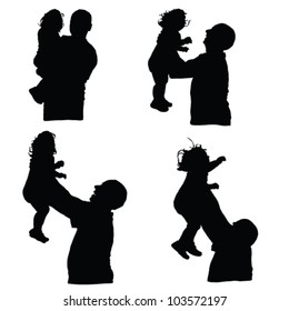man throws baby into the air silhouette illustration