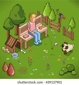 Man throws ball at barking pug in a blooming garden with dog kennel surrounded by trees (isometric illustration)