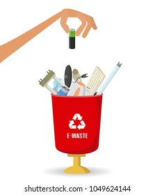 Man throws garbage into a  e-waste container on white background. Ecology and recycle concept. Vector illustration