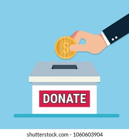 Man throws gold coin in a box for donations. Coin in hand. Donation box. Donate, giving money. Vector illustration, flat style design.
