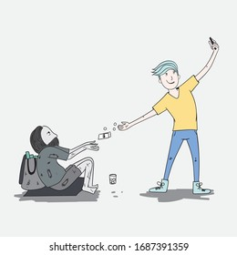Man throws money with a beggar and takes a picture to create a picture of himself.Doodle art concept,illustration painting
