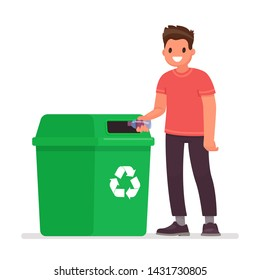 Man throws a plastic bottle into the trash can. The concept of caring for the environment and sorting garbage. Vector illustration in flat style