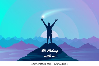 A man at the top of a mountain holds a signal fire in his raised hand. Climbing on mountain. Vector illustration hiking and climbing