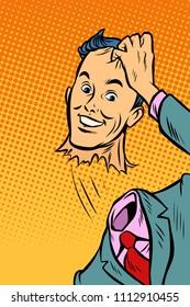 The man tore his head off. Comic cartoon pop art retro vector illustration drawing