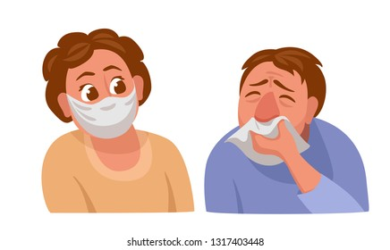 man tormented by a runny nose. man wipes his nose with a handkerchief. woman is afraid to get infected and put on a facial medical mask.