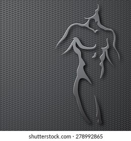Man torso on gray background. Paper design