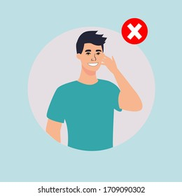 Man touch his face with his hand. Virus prevention and protection.Trendy style vector illustration