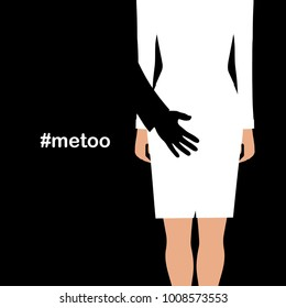 Man touching the back of a woman. Sexual harassment concept. #MeToo . VECTOR